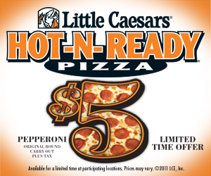 Watch video · About Little Caesars Pizza 5 for $5 TV Commercial, 'Your Pick' Little Caesars is offering five different food items for $5, all day and HOT-N-READY from p.m. For $5, a customer can buy a large pepperoni pizza, Cinnamon Loaded Crazy Bites, Bacon Cheddar Loaded Crazy Bites, Caesar Wings or a bottle of Pepsi-brand soda.