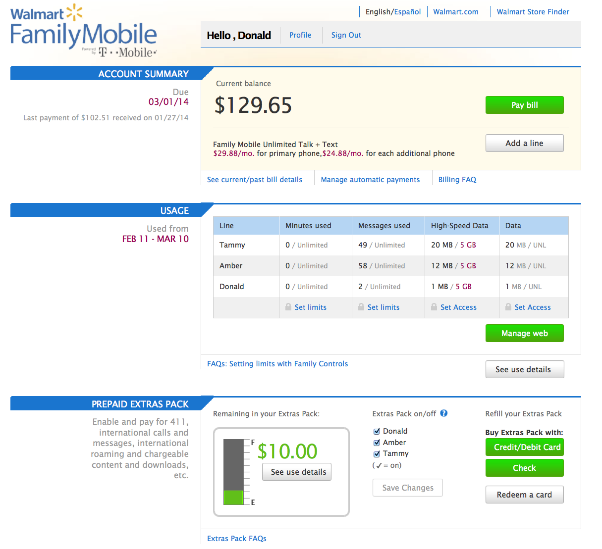Walmart Family Mobile Unlimited Talk Text And Data/Web