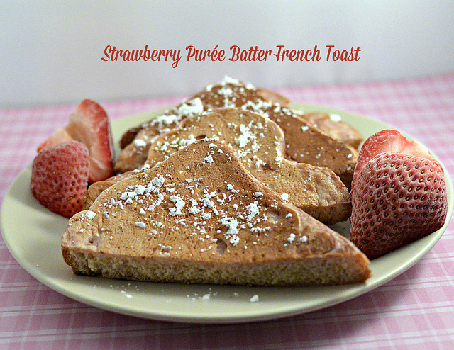 Strawberry Purée Battered French Toast