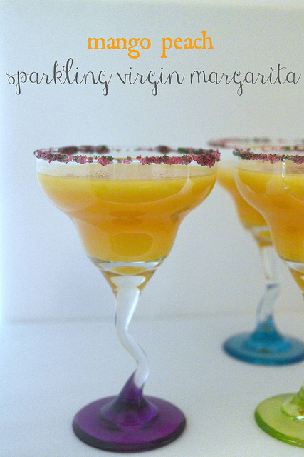 mango peach sparkling virgin margarita words