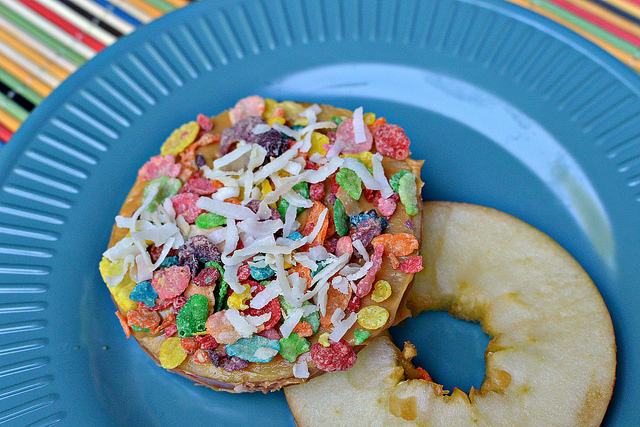 fruity pebbles apple and peanut butter stacks