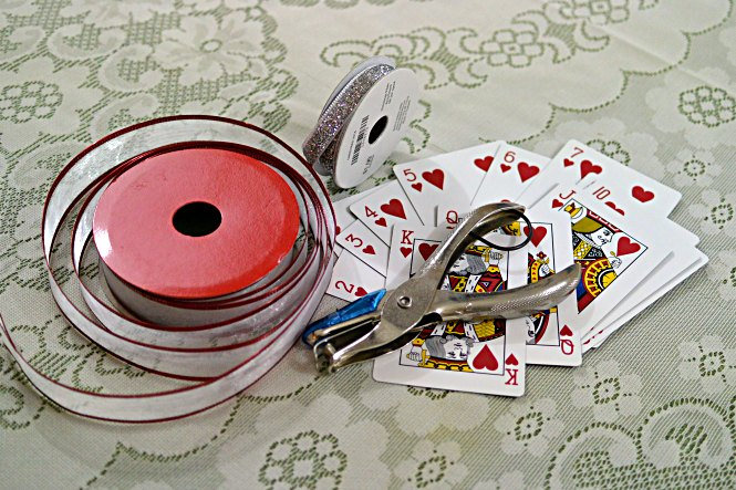 Supplies for a Playing Card Garland