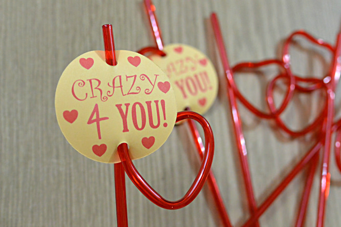 crazy 4 you valentine's straw topper