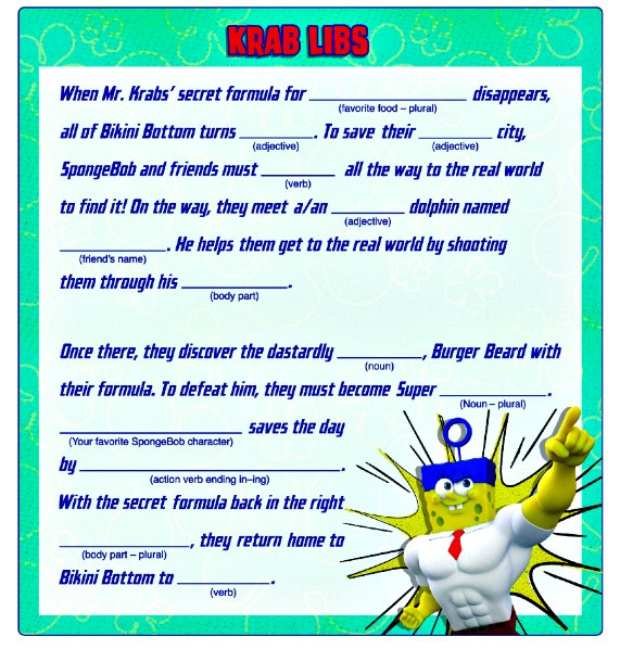 image relating to Summer Mad Libs Printable named Summer time of Sponge Bob Unique - Obtain Free of charge Printable
