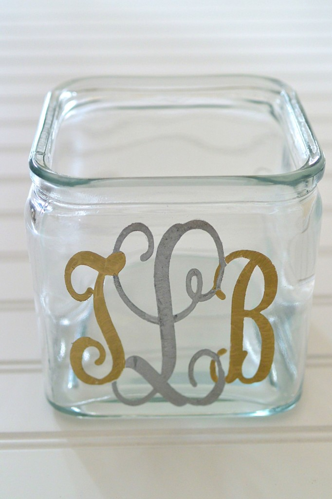 Monogrammed Glass Container