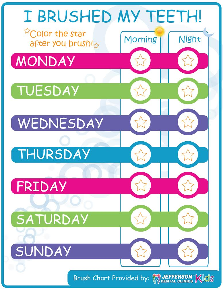 free printable toothbrushing chart