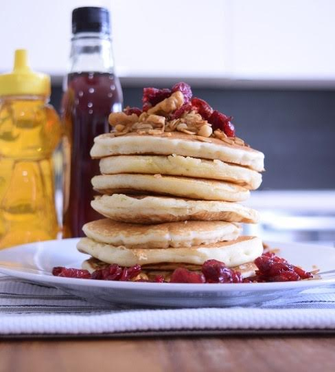 Maple Cranberry Granola Pancakes